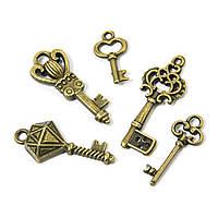 Кулоны Ключи Микс, Металл, Цвет: Бронза, Размер: Микс, (УТ0013541)