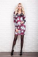 Бархатное платье велюр с цветочным рисунком р.44-48 AR98500-1