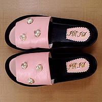 Женские шлепанцы (7052.1) 40 - кожаные розовые на платформе