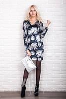 Бархатное платье велюр с цветочным рисунком р.44-48 AR98500-2