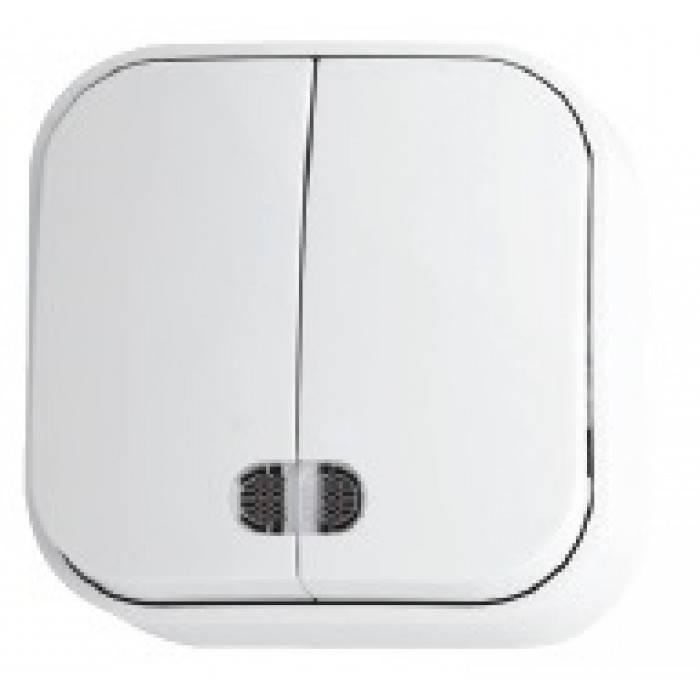 Выключатель 2 кл. с подсветкой  белый EVA