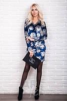 Бархатное платье велюр с цветочным рисунком р.44-48 AR98500-3
