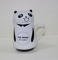Кружка керамическая с крышкой, Панда, фото 1