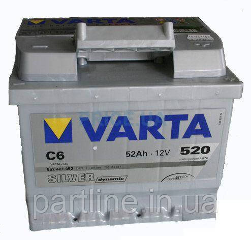 Аккумулятор VARTA Silver Dynamic С6 (552401052) 6СТ-52, 520En, габариты 207х175х175, гарантия 24 мес.
