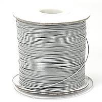 Шнур Вощеный Полиэстер, подходит для плетения браслетов, Цвет: Светло-серый, Размер: Диаметр 0.5мм, около 180м/катушка, (УТ100009672)