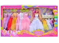 Игровой набор Кукла DEFA 8027 с аксессуарами с набором красивых платьев для куклы, туфельки, сумочка, расческа