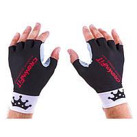 Перчатки для фитнеса CrownFit Lycra+Amara (р-р S, M, черно-белый)