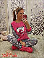 Женский теплый домашний костюм с мишками и повязкой для сна (42-50р) 22П10586