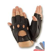 Вело перчатка из натуральной кожи без подкладки модель 245.