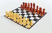 Шахматные фигуры деревянные с полотном для игр (дерево, высота пешки 2,6 см)