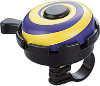 Звонок велосипедный NUVO NH-B611AP Hypnosis хомут 22.2 мм жовтий/фіолетовий