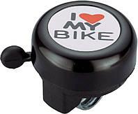 Звонок велосипедный NUVO NH-B610SP хомут 22.2 мм I love My Bike чорний (3211225555012)