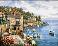 Живопись 30*40 Приморская вилла, берег, лодки  рисование по номерам, картина