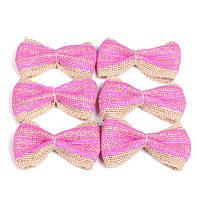 Бантики розовые из мешковины для декора и украшений 8x6 см 6 шт/уп