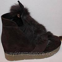 Зимние ботинки молодежные мех с ушами коричневые на высокой подошве. Ботинки  собственное производство СП-У
