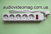 Сетевой фильтр удлинитель на 5 гнёзд с выключателем, длина 1,5 метра
