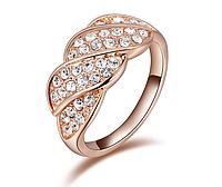Позолоченное кольцо женское с цирконами р 16 17 код 919