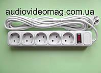 Сетевой фильтр-удлинитель на 5 гнёзд с выключателем, длина 4,5 метра