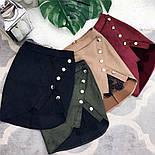 Женская модная замшевая юбка с кружевом на кнопках (4 цвета), фото 2