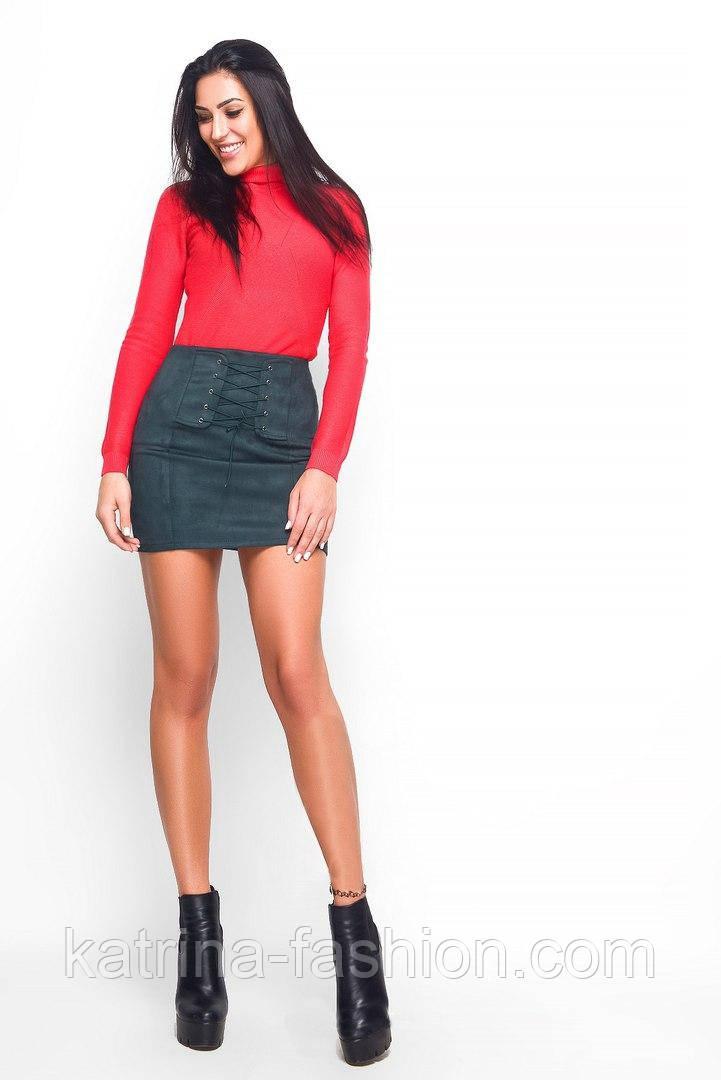 Женская красивая замшевая юбка-корсет (3 цвета)