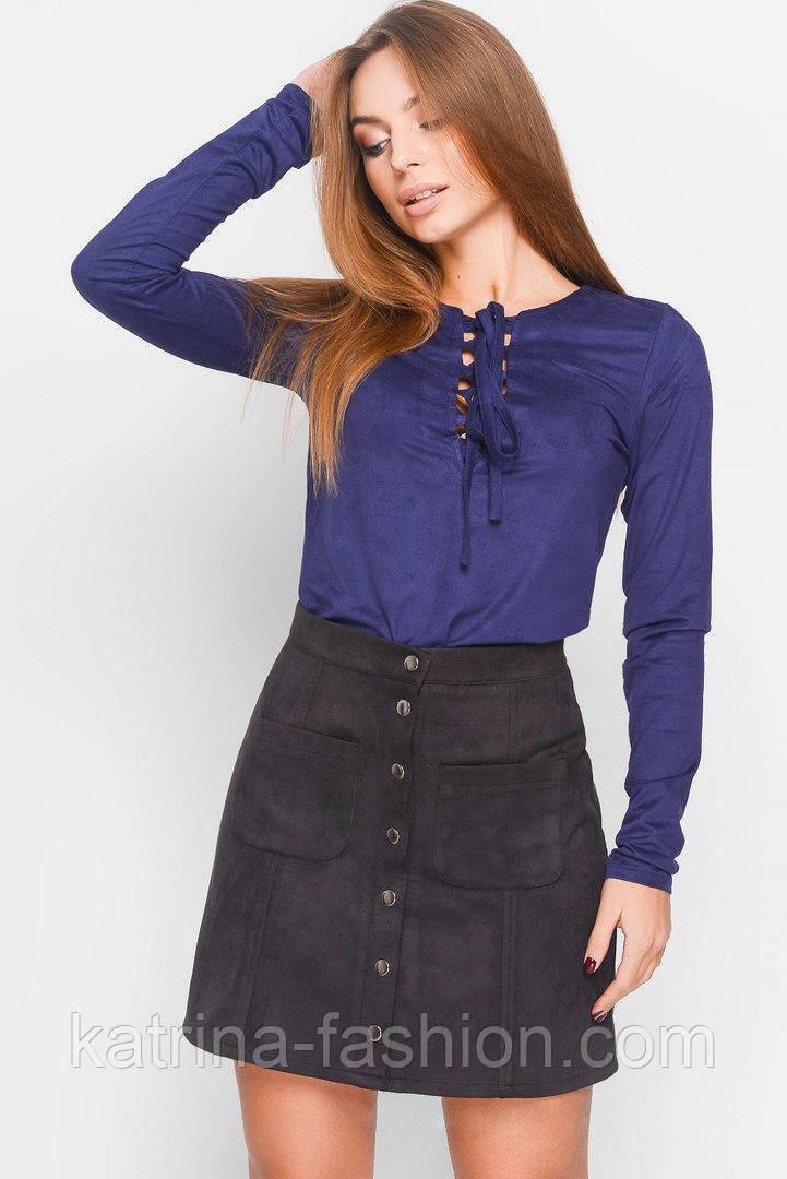 Женская стильная замшевая юбка-трапеция (3 цвета)