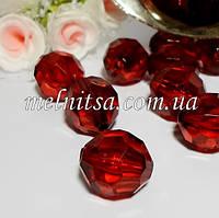 Бусины акриловые, граненные, 1,8х1,6 мм, цвет т.красный, 5 шт.