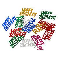 Happy Birthday, PVC Пластик, Крошка, Бумага, День рождения, Цвет случайный, 30 мм x 15 мм