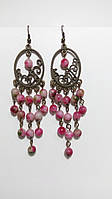 Серьги восточные Розовый Турмалин, натуральный камень, цвет оттенки розового