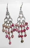 Серьги восточные Турмалин розовый, натуральный камень, цвет оттенки розового