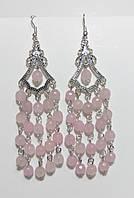 Серьги восточные Розовый кварц, натуральный камень, цвет оттенки розового