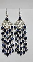 Серьги из Лазурита, натуральный камень, цвет оттенки синего