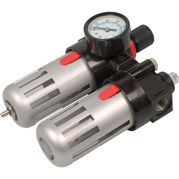 Фильтр воздушный с редуктором, со смаз.прибором и манометром  1/2' Miol 81-430
