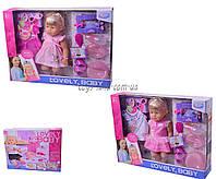 Кукла пьет и писает WZJ013-1/2 4 вида, звук, горшок, тарелка, ложка, бутылочка, одежда, расческа в коробке 59*12*4