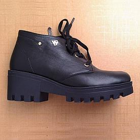 Ботинки женские демисезонные кожаные чёрные со шнуровкой 40, 41
