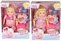 Кукла MZT8942 (18шт/2) 2 вида, бутылочки, пьет и писает, горшок, звуки, меняется картинка на дне, коробке 26*12*35, 5