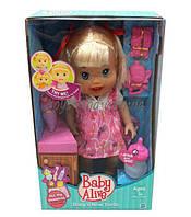 Кукла пьет и писает Baby Alive 28222-A  чистит зубы(движ), печенье, зубная паста, коробке 24*12, 5*35, 5