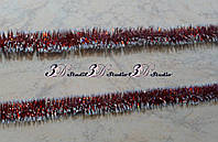 Дождик новогодний красный с белым диаметр 2см длина 1,4 м