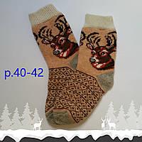 Мужские новогодние носки с оленями, р. 40-42, коричневые