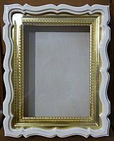 Киот белый для венчальных икон с золочёной рамой., фото 1