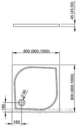 Поддон квадратный RADAWAY DELOS C 800x800x45 SDC0808-01, фото 2