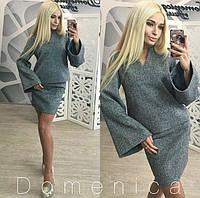 Женский модный твидовый костюм: кофта и юбка + большие размеры серый, S