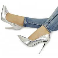 Серебристые женские туфли на шпильке NML-151591 36