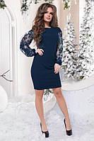Платье Новогоднее Роскошный кружевной рукав синий+