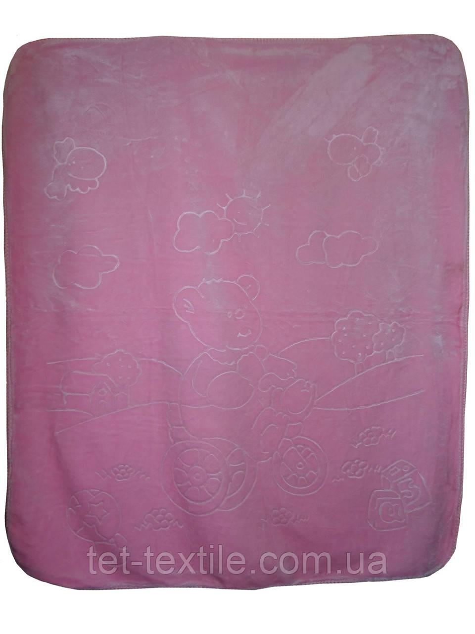Плед детский акриловый (розовый)