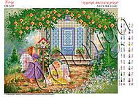 Схема для вышивания бисером Ангелочки в саду