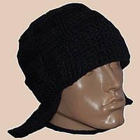 Мужская вязаная зимняя шапка - ушанка черного цвета