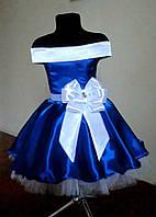Корсетное платье для девочки в ретро стиле 116-128, эллектрик