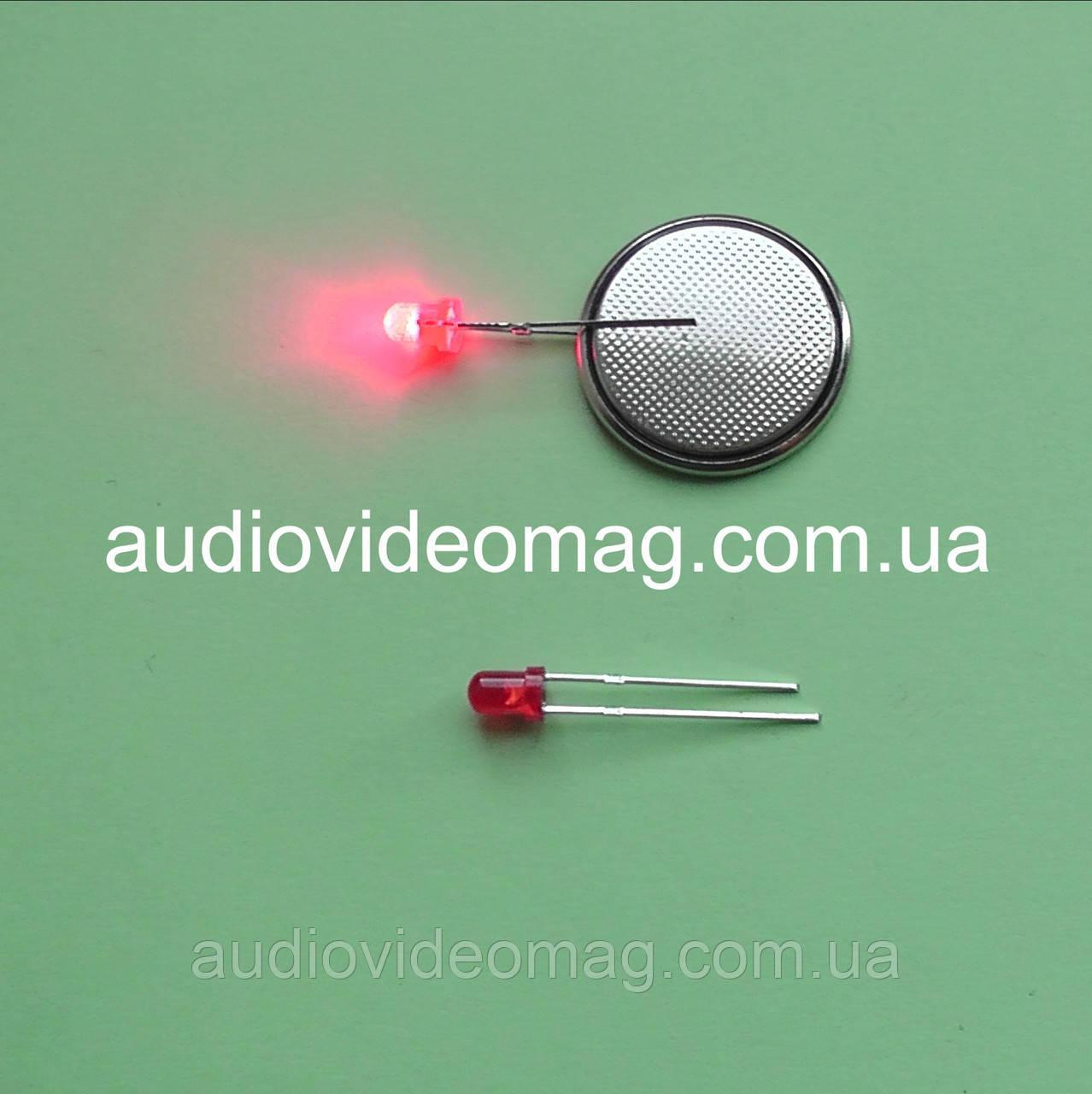 Светодиод 3V 3 мм, диффузный, цвет красный