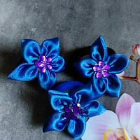Цветочки на резиночке,синие.