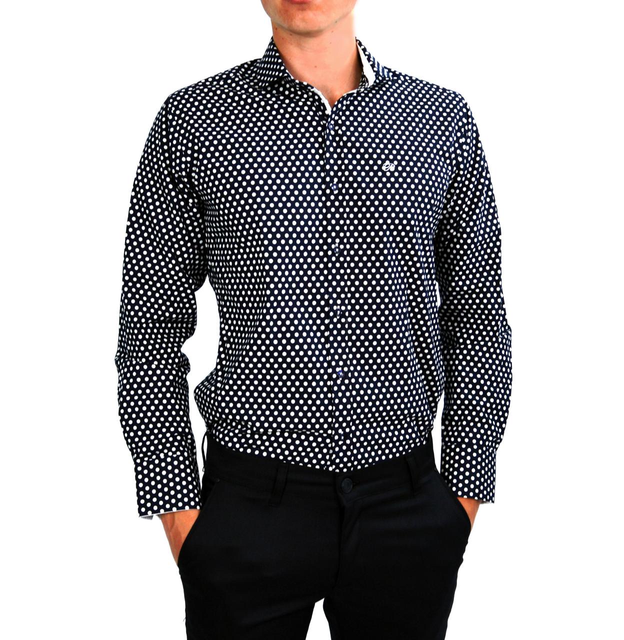 42ff310f368 Черная в белый горошек мужская рубашка классическая B.Z.N.  продажа ...